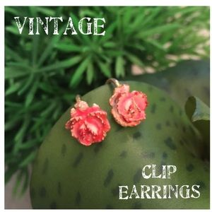 Vintage Rose Clip Earrings